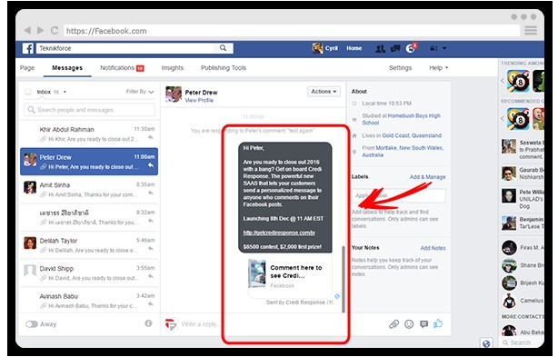 Credi Response Facebook Outreach System App Software By Cyril Gupta