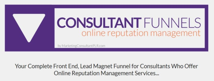 Consultant Funnel Online Reputation Management PLR Package by Drew Laughlin